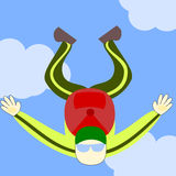 Jump in the air. A man falling in the air, ready to open his parachute royalty free illustration