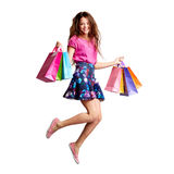Jump with bags Royalty Free Stock Photos