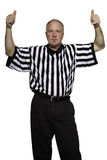 Jump Ball. Man dressed as a basketball referee giving sign for a jump ball Royalty Free Stock Photography