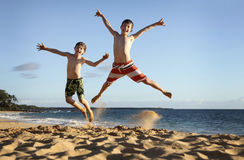 Jump at the beach Royalty Free Stock Photos