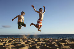 Jump at the beach Stock Photography