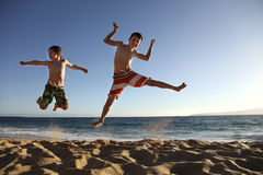 Jump at the beach Royalty Free Stock Images