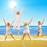 Jump on a beach Stock Images