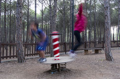 Jump. A blur image of children jumping Stock Image
