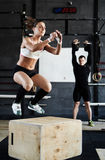 Jump-box in gym Stock Images