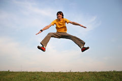 Jump boy on meadow 2 Royalty Free Stock Image