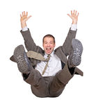 Jump businessman. On white background Stock Photo