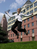 Jump businesswoman. Jump happy businesswoman Royalty Free Stock Photo