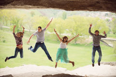 Jump in Cave Royalty Free Stock Images