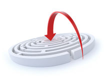Jump in the center. 3D concept with round labyrinth and red arrow Stock Image