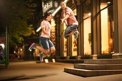 Jump, couple Stock Photos