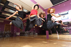 Jump dancing collective Stock Photo