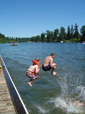 Jump from the dock Stock Photography