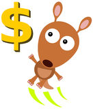 Jump for a dollar. A funny illustration of a kangaroo jumping to reach a dollar sign Royalty Free Stock Images