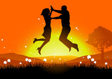 Jump in the field of dandelions. Vector beauty love illustration, two persons jump in sunset on field Royalty Free Stock Photo