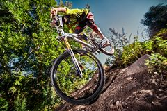 Jump and fly on a mountain bike in outdoor Royalty Free Stock Photos