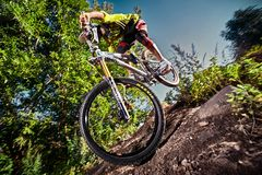 Jump and fly on a mountain bike in park Stock Photography