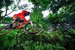 Jump and fly on a mountain bike. Royalty Free Stock Photos