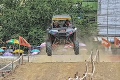 Jump of four wheel drive race Royalty Free Stock Image