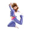 Jump free. The sports woman in a free jump royalty free stock photography