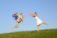 Jump for fun. Happy jumping man. may be use for love concept Royalty Free Stock Photography