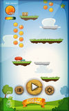 Jump Game User Interface Design For Tablet. Illustration of a funny spring graphic jump game user interface background, in cartoon style with basic buttons and Stock Photo