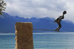 Jump in Geneva lake Royalty Free Stock Photography