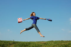 Jump  girl. Jumping girl with shopping bags Stock Photos