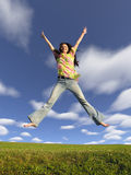 Jump Girl With Hair On Sky 2 Stock Images