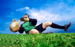 Jump of goalman Royalty Free Stock Photos