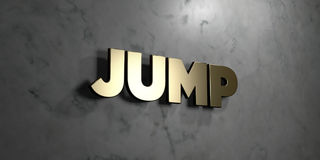 Jump - Gold sign mounted on glossy marble wall  - 3D rendered royalty free stock illustration Stock Photography