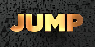 Jump - Gold text on black background - 3D rendered royalty free stock picture Stock Photos