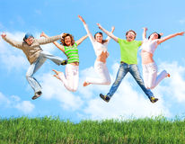 Jump of a group Stock Images