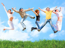 Jump of a group Royalty Free Stock Images