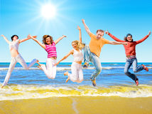 Jump of a group of people Royalty Free Stock Images