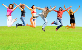 Jump of a group of people Royalty Free Stock Photo
