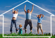 Jump happy family. Mother father and two child. home of dream under blue sky Royalty Free Stock Photo