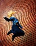 Jump of happy free joyful active one woman Royalty Free Stock Photo