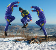 Jump happy man. winter. Royalty Free Stock Photos