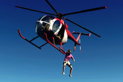 Jump with helicopter. Scenes of the jump with helicopter Royalty Free Stock Image
