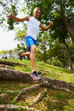 Jump from hill a Stock Images
