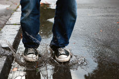 Jump In The Puddle Royalty Free Stock Photography
