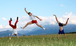 Jump for joy Stock Image