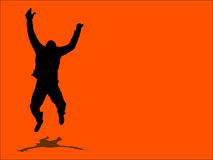 Jump for joy!. Silhouette of a male jumping for joy Royalty Free Stock Photo