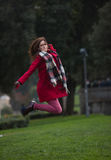 Jump of joy and happiness Stock Photography