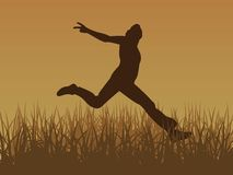 Jump for joy vector. Vector image jump for joy brown Stock Image