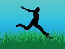 Jump for joy vector. Vector image jump for joy blue green Royalty Free Stock Photo
