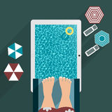 Jump jumping into the pool, the tablet into flat for your design Stock Photography
