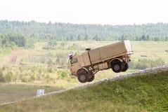 Jump of Kamaz sport truck Stock Image