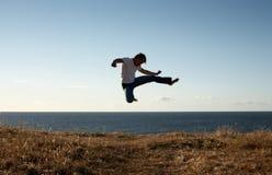 Jump-kick. Silhouette image of martial arts master jump-kicking stock photos